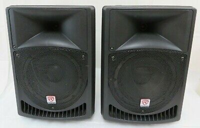 "Pair Rockville Power Gig RPG8 8"" Powered Active 2-Way DJ PA Speakers"