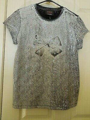 48e3d89a97b8 GIAMBATTISTA VALLI FOR IMPULSE Macy's Sequin Bow S/S Tee Top ~ Women's Small