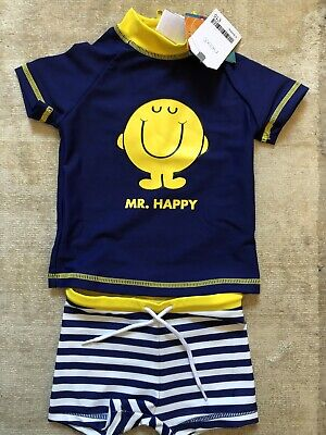 Next Mr Men Sun/Swim Top & Short Set UV Protection 3-6 Months - New with Tags