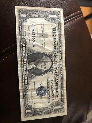 1935 or 1957 One Dollar Well Circulated Silver Certificate Note - $1 Bill