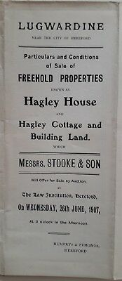 Printed Paper Document for House & Land Sale in Lugwardine Herefordshire 1907