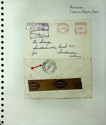 Burma Rangoon 1960 Scarce Registered Meter Franked Cover To Holland