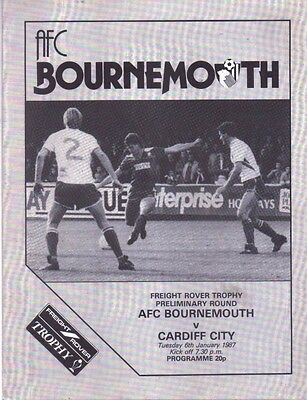 AFC Bournemouth v Cardiff City Official Football Programme - 6th January 1987