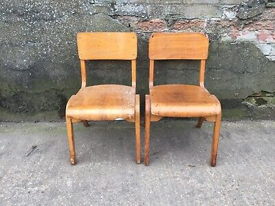 Set 2 Mid Century Retro Vintage School Dining Stacking Bentwood Plywood Chairs