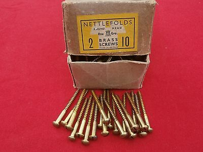 "30 NETTLEFOLDS  2"" x 10 BRASS WOODSCREWS SLOTTED ROUND HEAD. UNUSED, OLD STOCK"