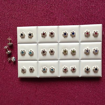 JOBLOT-12 pairs of crystal/colour rosette  diamante stud earrings.Silver plate.