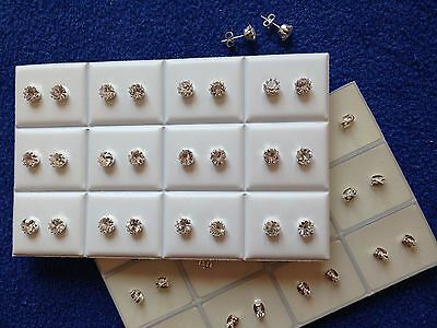 JOB LOT-12 pairs of 0.6cm crystal diamante stud earrings.Silver plated.UK made.