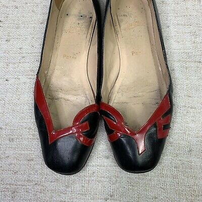 58b00c2ea3ff CHRISTIAN LOUBOUTIN LOVE Flat Ballet Black Leather Patent Shoes 39 (Very  Used)