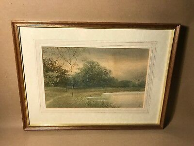 Signed Early 20th Century Watercolour Painting Of Landscape In Wood Frame