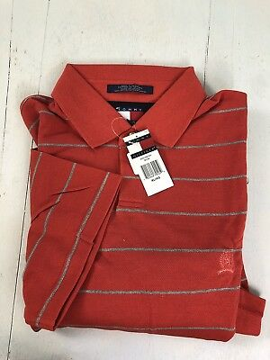 XL Tommy Hilfiger Vintage New 100% Cotton Polo Golf Shirt - Red/Gray Stripe