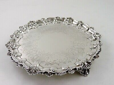 Victorian 26cm ENGRAVED SILVER SALVER, London 1853 by Barnards, WAITER TRAY 605g