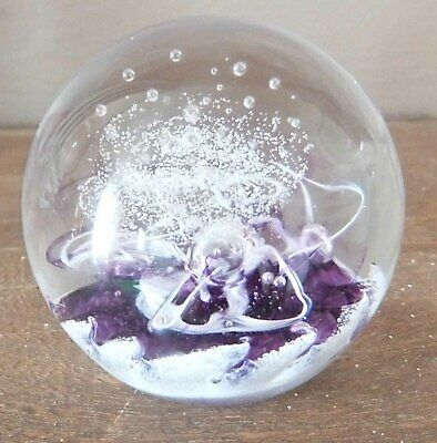 Selkirk Glass Paperweight Cadenza Purple Complete with Box and Paperwork