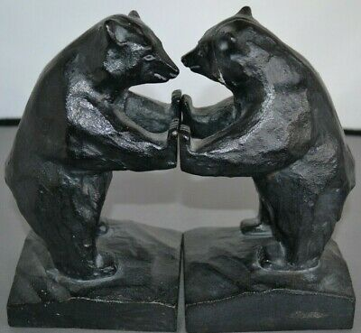 Vintage Cast Iron Black Grizzley Bear Book Ends Made in Japan Cabin Decor