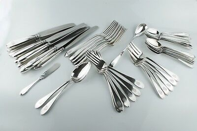 44 Pc. Arthur Stone (George Blanchard) Sterling Silver Flatware Set- Pointed End