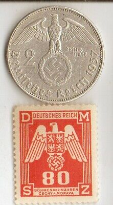 """*antique  silver - *WWII-*german SILVER EAGLE  coin/stamp +*egyp.""""king TUT"""" coin"""