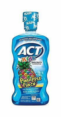 3 Pack ACT Kids Anticavity Fluoride Rinse, Pineapple Punch, 16.9 Ounce each