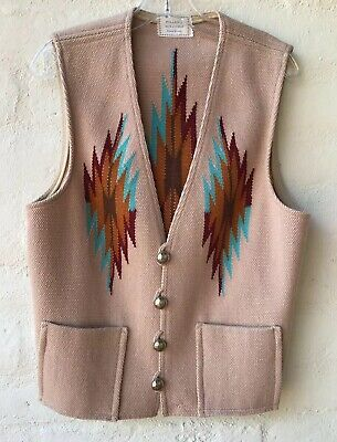 Vintage Tan Chimayo Wool Men's Vest Miller's Label Hand Woven Concho Buttons Lg.