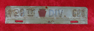 1941 28th INF DIV ARMY NG LICENSE PLATE TOPPER PA PENNA NATIONAL GUARD WWII WW2