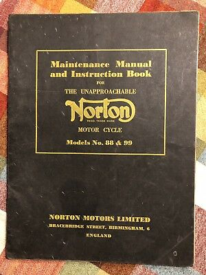 Maintenance Manual and Instruction Book for the Unapproachable Norton Motorcycle