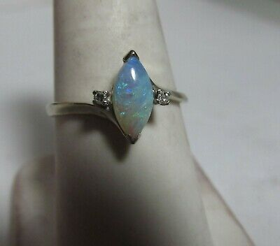 14K Solid White Gold Ring With Australian Natural Opal And Diamonds