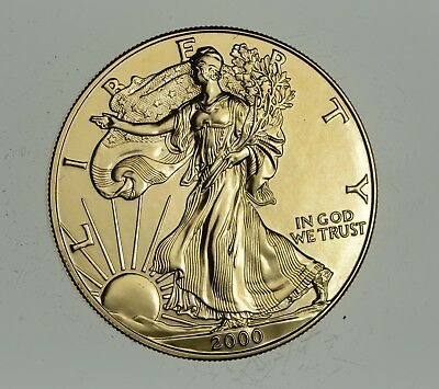 2000 24 Kt Gold Plated American Silver Eagle - Beautiful Coin! 1 Oz .999 *912