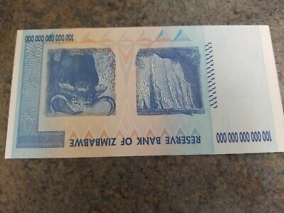 100 Trillion Zimbabwe Dollars Bank Note AA3440301 2008 ~ UNC Authentic Banknote