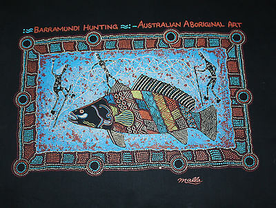 "Australian Aboriginal Art ""Barramundi Hunting"" Canvas Printed Panel  NWOT"