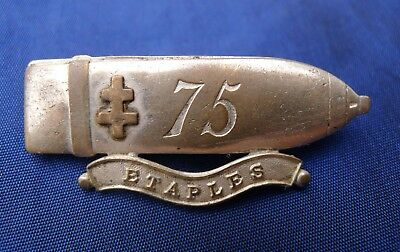 Ww1 French Patriotic Badge; 75Mm Field Gun Shell 'étaples' Cross Of Lorraine.
