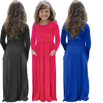 Kids Girls Long Sleeve Pocket Design Loose Maxi Party Cocktail Casual Cute Dress