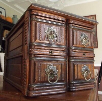 ANTIQUE SEWING CABINET 4 drawer CARVED OAK wood frame New Home BEAUTIFUL!
