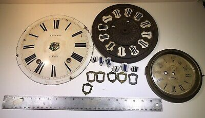 Vintage 19th Century Clock Parts Lot Face Dial Bezel Glass Copper/ Porcelain