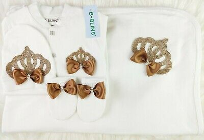 Personalize Newborn Baby Girl Golden Brown Romper Fancy Bow Crown Gift Set