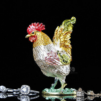 New Handmade Crystal Metal Cock Trinket Boxes Figurines Jewelry Decor Lady Gift