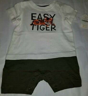 Gymboree Baby Boys' Easy Tiger 100% Cotton Romper 1 Piece 0-3 Months NEW