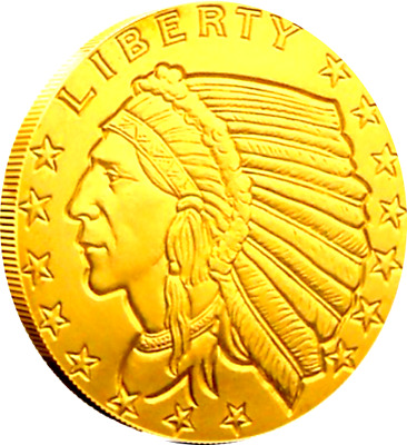Incuse Indian , 24k Gold Gilded  .999 pure Silver Coin 1/2 Half Troy Ounce F
