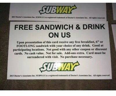 (12) Subway Sandwich Combo Foot long meal Vouchers NO EXPIRATION, free shipping