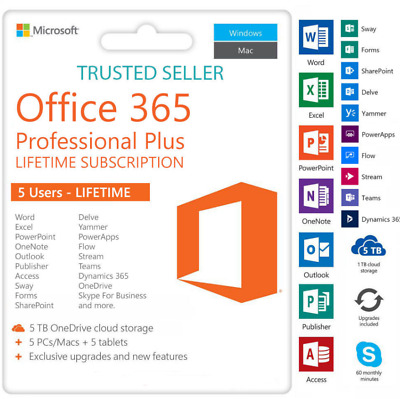 Microsoft Office 365 Office 2016 Professional Account For 5 Users 5TB Onedrive