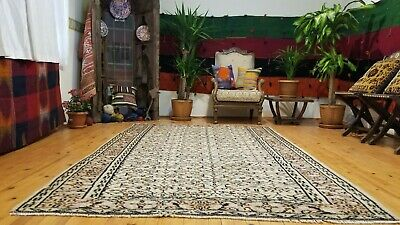 "Primitive Antique 1940-1950's Muted Dye 5'6''×8'6"" Wool Pile, Isparta Rug"