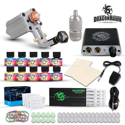 Beginner Tattoo Kit Extreme Rotary Machine Power Supply USA 10 color Ink Needle