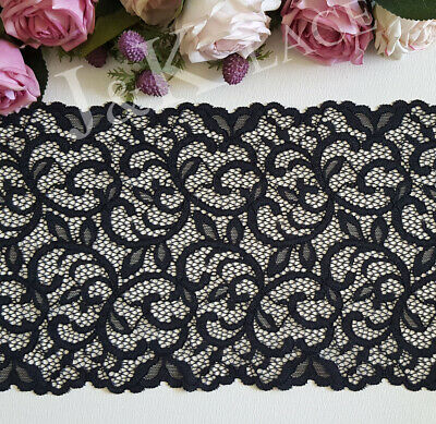 18 cm width Beautiful Black Stretch Lace Trim