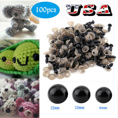 100Pcs 6-12mm Plastic Safety Eyes for Bear Doll Puppet Plush Animal Toy Black US