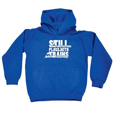 Funny Kids Childrens Hoodie Hoody - Still Plays With Trains
