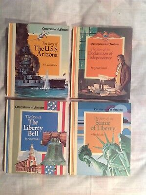 "Four ""Cornerstones of Freedom"" Books, Liberty Bell, Statue of Lib. Dec. of Ind."