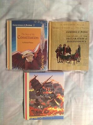 Three Cornerstones of Freedom Books, Dec. of Ind, The Constitution, USS Arizona