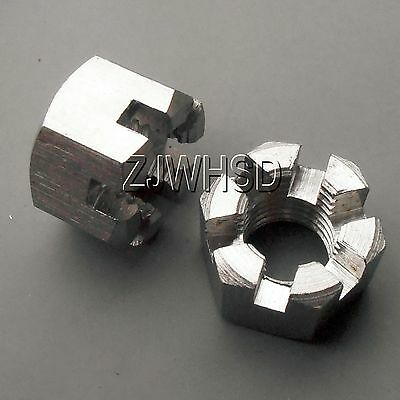 2pcs M14 x 2mm pitch Connecting Rod Wheel Axle Hub Slotted Castle Nut Stainless