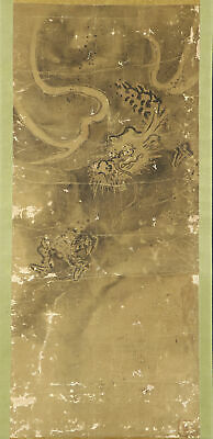 """JAPANESE HANGING SCROLL ART Painting """"Dragon"""" Asian antique  #E6093"""