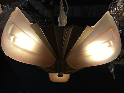 ORIGINAL ART DECO SLIP SHADE CHANDELIER GLASS LAMP  3 LIGHT PENDANT No3