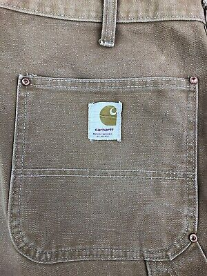 40x31 70s Carhartt Duck Canvas Double Knee Dungaree Pants Union Made Rivet Work