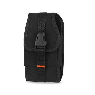 "Reiko Vertical Rugged Pouch With Velcro And Metal Belt Clip Black 7.0""X3.9""X0.7"""