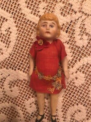 Antique German Bisque Jointed Miniature Dollhouse Girl all original  3 1/2 inch
